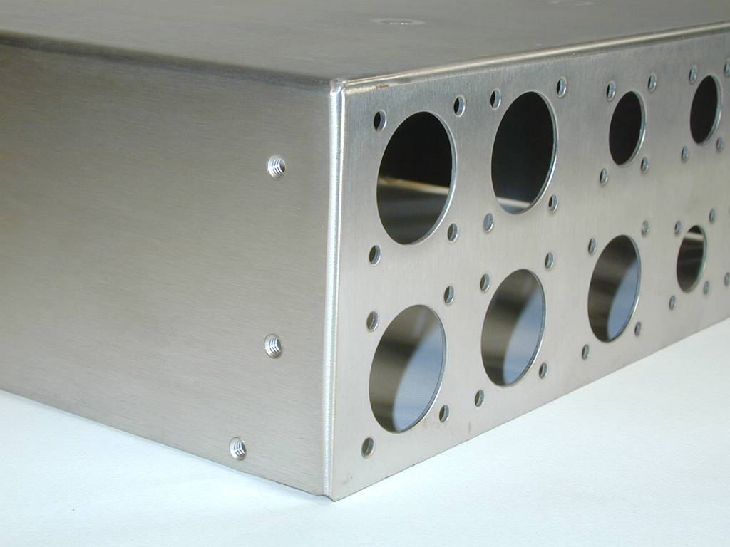 Stainless steel electrical enclosure - laser cut, formed, and welded.